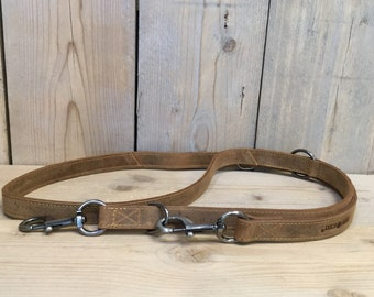 Leather Dog Leash total 200 cm long 3-way adjustable double-layered with rounded Metal Parts Vintage Leather used look brown
