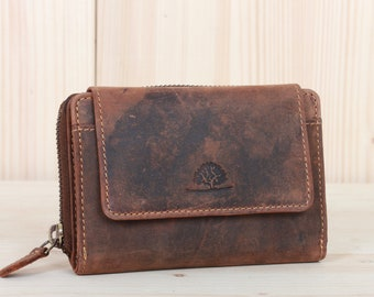 Women's Wallet RFID-Protection Leather Purse, many card slots, separate coin pocket with zip in vintage design saddle brown used look