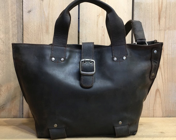 Featured listing image: Leather Shoulder Bag Ladies Bag Leather Bag for Women in Vintage-Style dark brown used look