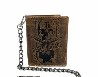 Leder Portemonnaie SKULL mit Sicherheitskette Hochformat