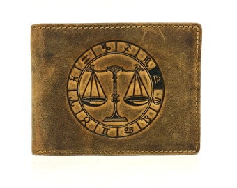 Leather Wallet used look unisex Stamping sign of the zodiac Libra in vintage style saddle brown used look