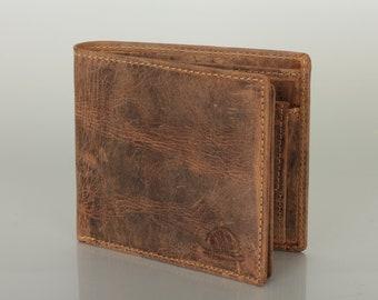Leather Wallet RFID Protection Men's Wallet saddle brown many Card Slots Vintage Design used look