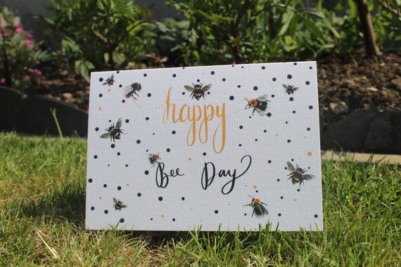 Happy bee day // bee card // birthday card // send to friend // bees
