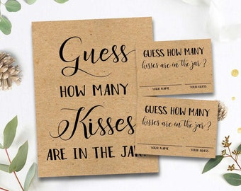 image regarding Guess How Many Kisses for the Soon to Be Mrs Free Printable known as Kissing Etsy