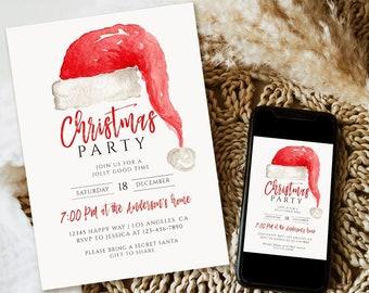 Editable Christmas Party Invitation, Christmas Party Invitation, Party Announcement, Printable Template, Christmas Invitation Download