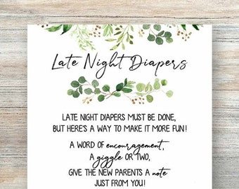 image regarding Late Night Diaper Messages Free Printable titled Late night time diapers Etsy