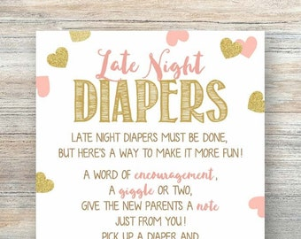 image regarding Late Night Diaper Messages Free Printable titled Diaper messages Etsy