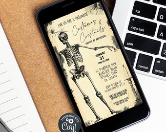 Vintage Skull Halloween Invite, Halloween Party Invitation Template, Costumes and Cocktails, Editable Adult Halloween,Instant Download evite