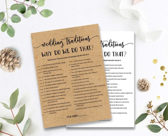 Wedding Traditions Guessing Game Why Do We Do That Wedding Traditions Guessing Games Printable Bridal Shower Trivia Game Rustic Kraft byh201