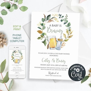 Edit NOW Bottle and Beers Baby Shower Cheers Coed Couples Shower Editable Template Corjl Instant Access Baby is Brewing Shower Invitation