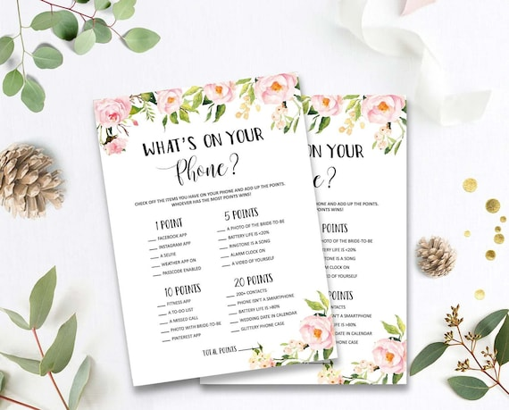 Floral What's In Your Phone Bridal Shower Games Printable Bridal Shower Game Idea Instant Download Wedding Game Whats On Your Phone byh228