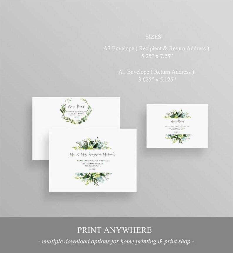 hyb40 Wedding Envelope Sticker Greenery Address Label Instant Download Wedding Address Printable Editable Return Address Template