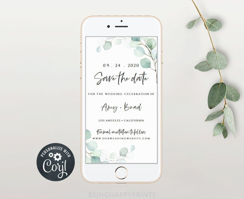 Text Message Invite Wedding Save the Date Template Save the Date Evite Photo Save the Date Modern Evite Template Instant Download