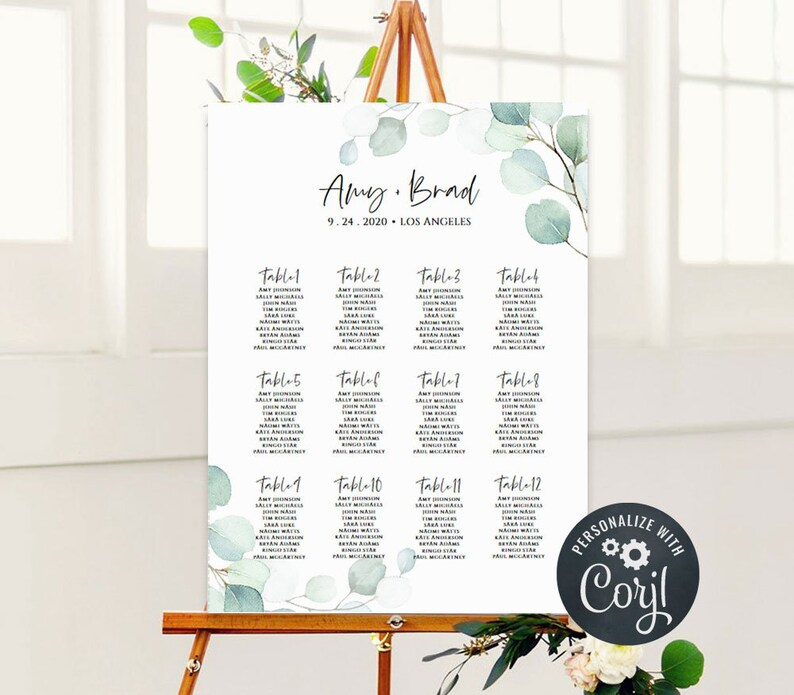 Seating Chart Sign,Wedding Seating Chart Poster,Wedding Seating,Seating plan Printable oq805 Green leaves Wedding Seating Chart Template