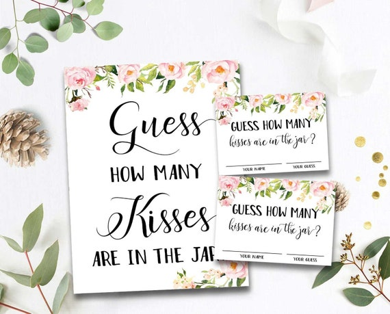 Guess How Many Kisses Bridal Shower Games Guess How Many Kisses for the Mrs Wedding Shower Game Bachelorette Party Night Floral byh230