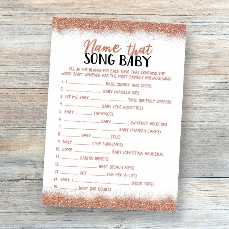 Name That Song Baby Shower Game Baby Song Games Printable ...