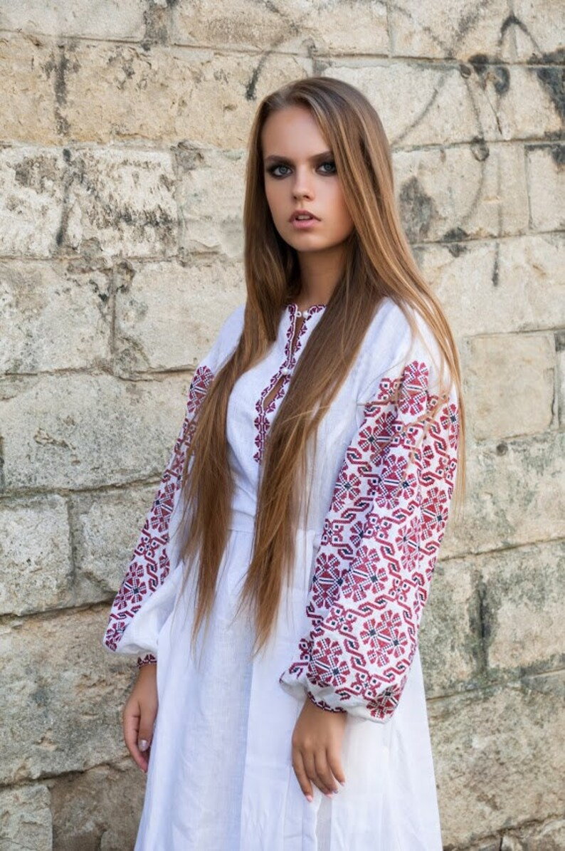 Dress Embroidered Linen Dress Ukrainian Vyshyvanka Unique Pattern Boho Arabian Abaya Kaftan