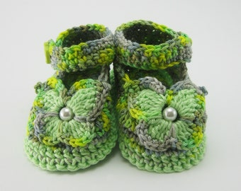 e13b2bd984b Avocado Green Flower Baby Shoes
