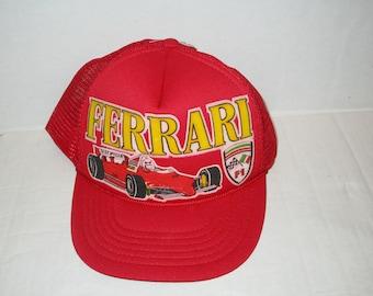 f213424369e66 vintage ferrari f1 racing trucker hat cap red snapback adjustable 80 s