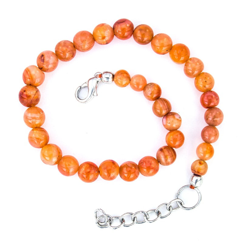 Gift for Her Indian Carnelian 5mm Gemstone Anklet August Birthstone Genuine Boho Style Jewelry Healing Crystal Beaded Anklet