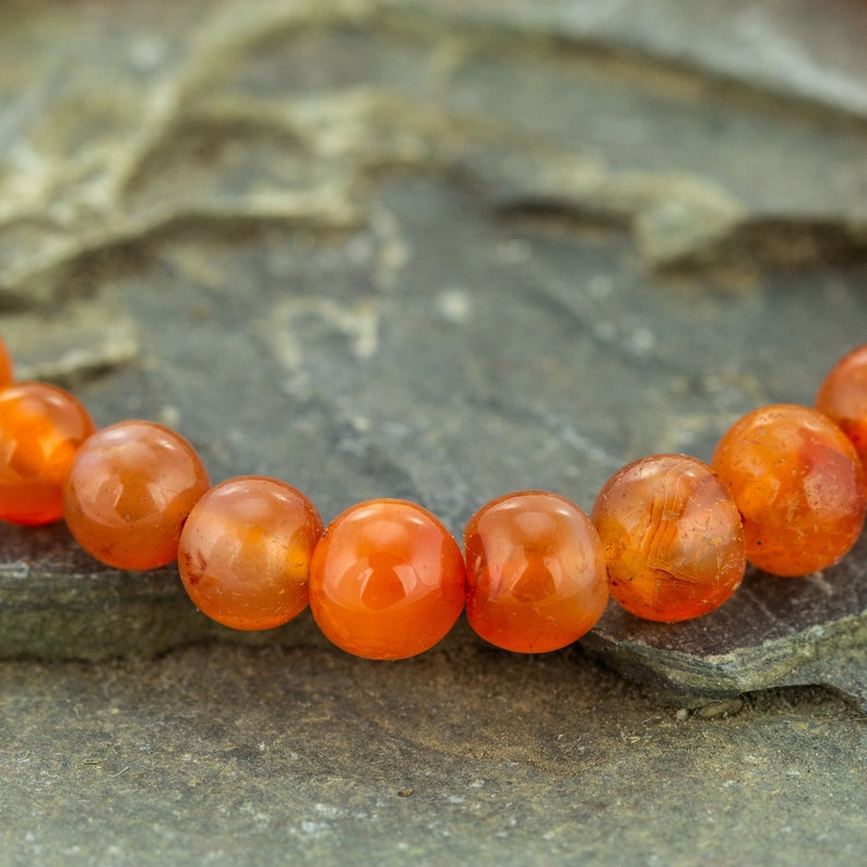 August Birthstone Genuine Boho Style Jewelry Healing Crystal Beaded Anklet Indian Carnelian 5mm Gemstone Anklet Gift for Her