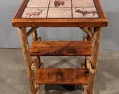 Red Cedar Logs, Live Edge, Reclaimed Barn Wood Side Table Entry Table with Durable Wildlife Art for the Northwoods Log Cabin Style