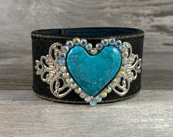 Leather cuff bracelet with faux turquoise blue heart with rhinestones - distressed repurposed upcycled belt - vintage inspired gift [0064]