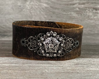 Recycled leather cuff bracelet for her - floral concho cuff - distressed repurposed upcycled - vintage inspired boho cowgirl western [0189]