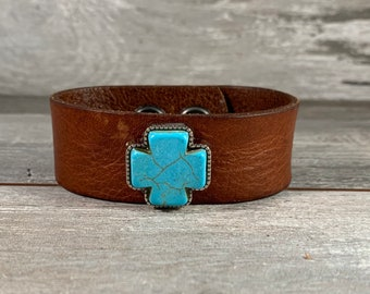 Brown leather cuff bracelet with faux turquose square cross - distressed recycled belt cuff - boho rustic cowgirl rodeo style [0726]