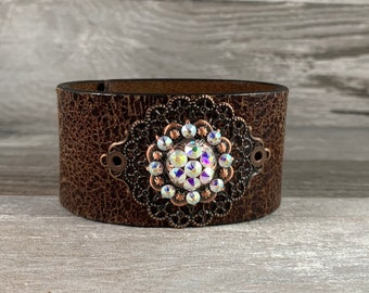 Recycled leather cuff bracelet with Swarovski crystal concho - distressed recycled repurposed upcycled brown belt cuff - boho style [0038]