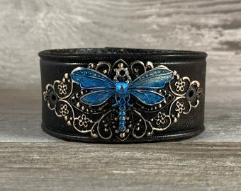 Hand painted dragonfly leather cuff bracelet - black distressed recycled belt - one of a kind handmade gift by Speckled Sparrow LLC [1090]