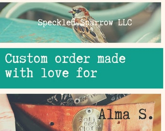 CUSTOM ORDER for ALMA S. - Leather cuff bracelet with two tone winged heart - black recycled belt cuff - boho cowgirl biker chick style