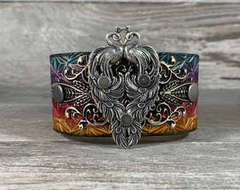 Peacock leather cuff bracelet - hand stamped and hand dyed one of a kind wearable work of art - Lost Sailor Speckled Sparrow collab [1158]