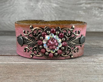Pink rhinestone painted leather cuff bracelet from recycled belt - vintage inspired - one of a kind boho cowgirl rock star style [0747]