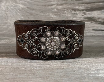 rhinestone leather cuff bracelet - brown distressed recycled belt cuff - vintage inspired boho cowgirl rock star style [0348]