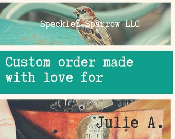 CUSTOM ORDER for JULIE A. - Leather cuff bracelet with silver winged heart - black recycled belt cuff - boho cowgirl biker chick style