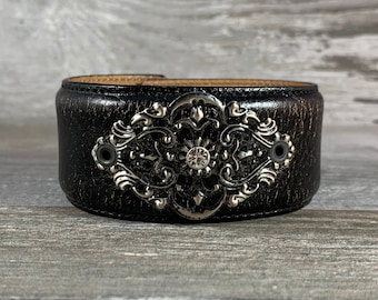 Distressed black leather cuff bracelet with filigree and rhinestone - vintage inspired - one of a kind rock star boho cowgirl style [1122]
