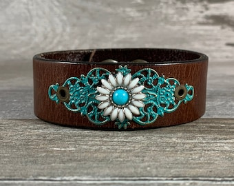 daisy flower leather cuff bracelet - distressed brown repurposed belt cuff - boho style western cowgirl chic one of a kind [1124]