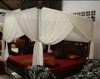"""Exclusive Four Corner Post Elegant Soft & Sheer 100% Cotton With Ruffle,Bed Canopy Set,Sleep Tent White : Full/Queen/King 86""""L x67''W x 86""""H"""