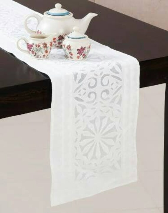 """16/""""x72/""""Embroidery Tablecloth Pink Rose Organza Table Runner Home Gift Decor"""