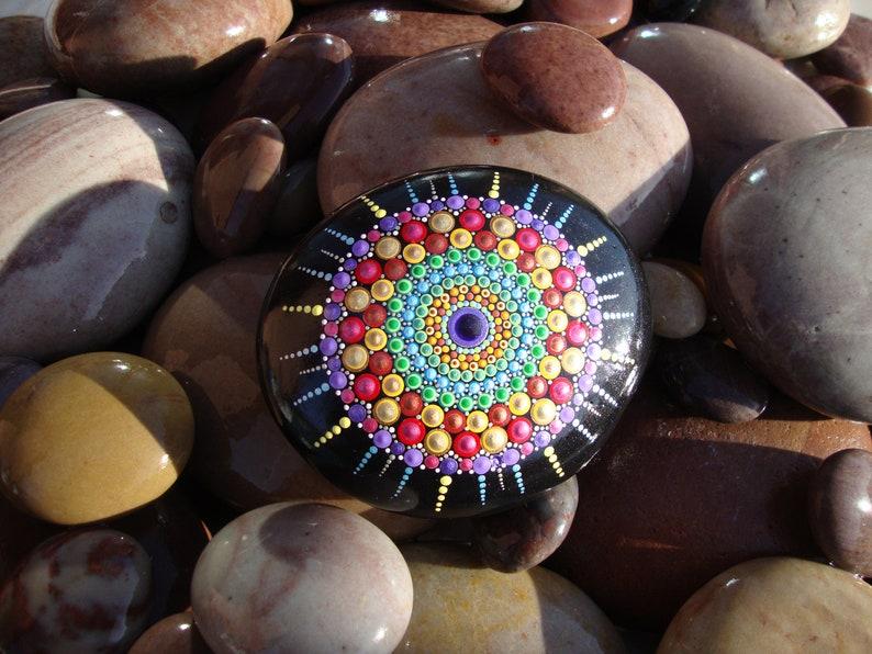 Free UK shipping Delicious hand-painted Mandala stone