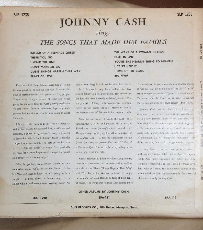 Johnny Cash-Sings the hits that made him famous-196?-Sun Records