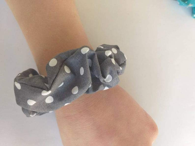 Cute polka dot gray and white hair scrunchie for humans