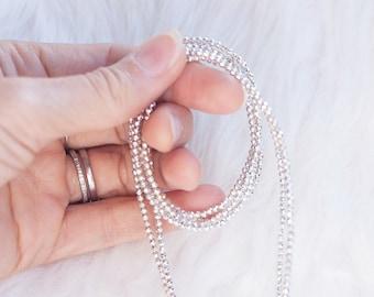 Necklace long sparkling hematite sterling silver tassel