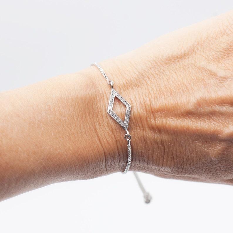 Diamond Bracelet in Skewed Square Pave Setting in Silver Silver