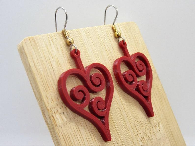 3D Printed Spiral Heart Frame Earrings Lightweight