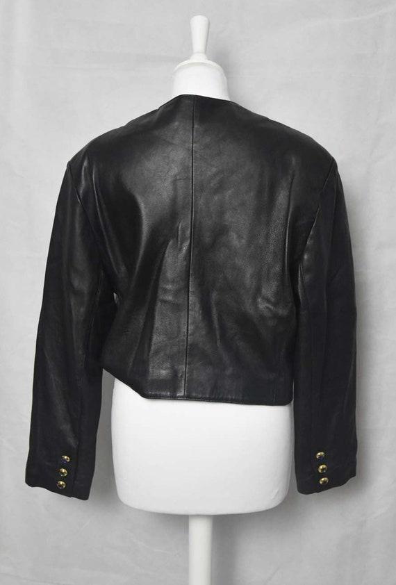 Short leather jacket 80's women's  black leather … - image 5