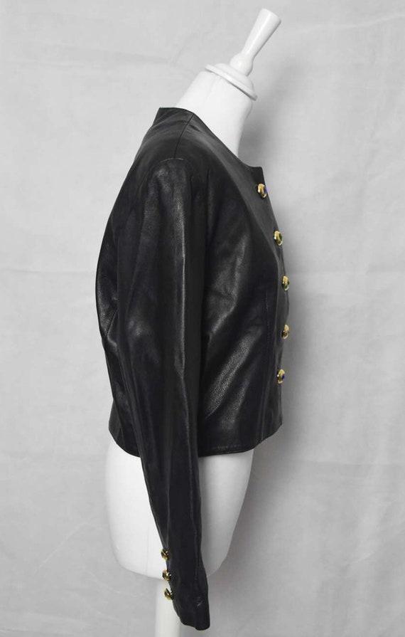 Short leather jacket 80's women's  black leather … - image 4