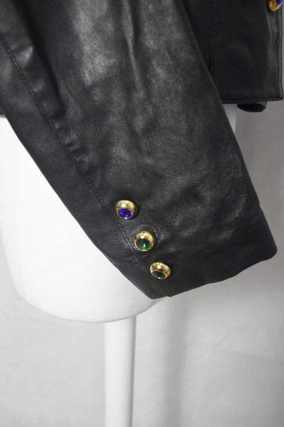 Short leather jacket 80's women's  black leather … - image 6
