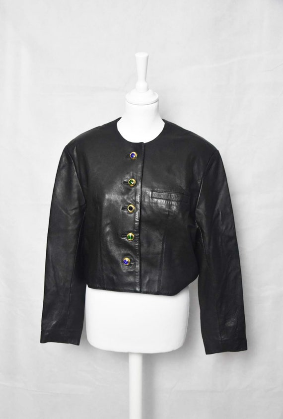 Short leather jacket 80's women's  black leather j